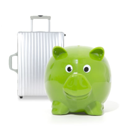 piggy bank and suitcase