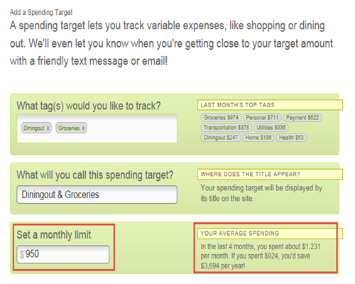 how to add a spending target in my greeninsights regions