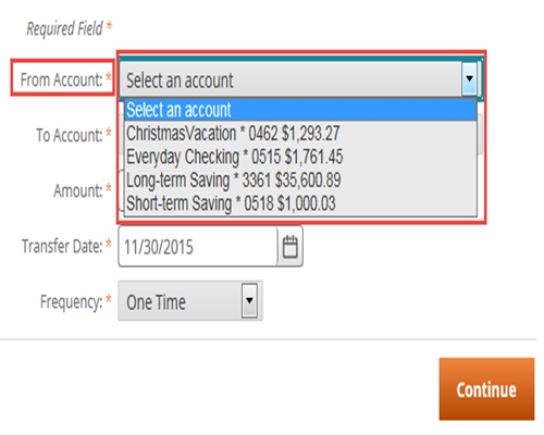 Select The Account You Would Like To Transfer Money From Drop Down Menu