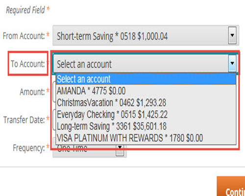 Select The Account You Would Like To Transfer Money In Drop Down Menu