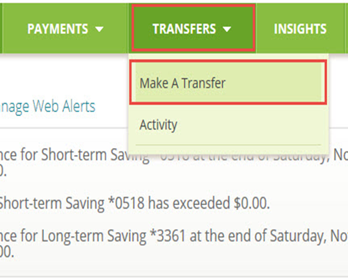 Once Logged In To Online Banking From The Transfers Menu Select Make A Transfer