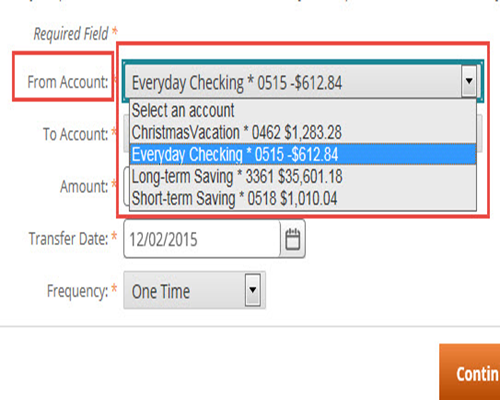 Select The Account You Would Like To Transfer Money From In Drop Down Menu