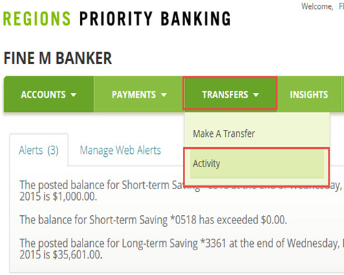 How To View Or Change Pending Transfers Regions Rh Com Wire Transfer Online Money Wiring