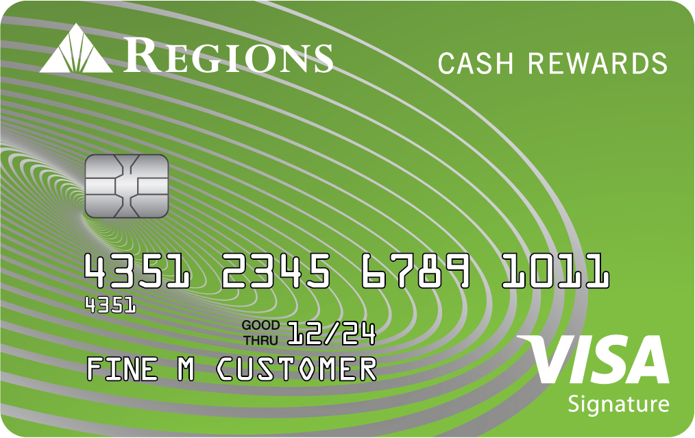 Tarjeta del programa Cash Rewards de Regions