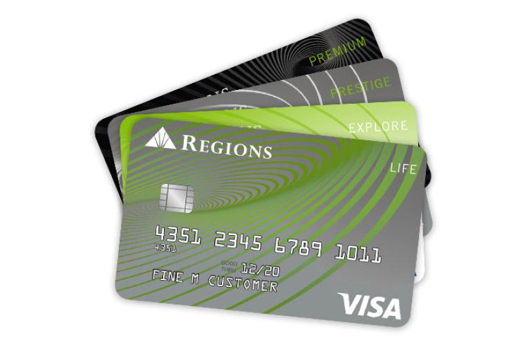 abanico de tarjetas de crédito Regions