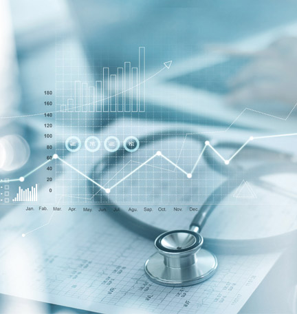 Healthcare business graph and Medical examination and businessman analyzing data and growth chart on blurred background stock photo