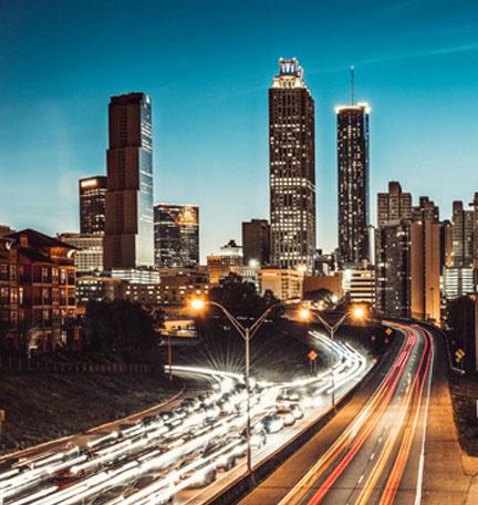 El horizonte de Atlanta al atardecer