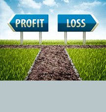 Signs pointing towards profit and loss