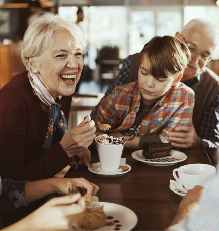 multi-generation family in a café
