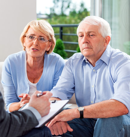 couple discussing retirement withdrawal strategies with financial advisor
