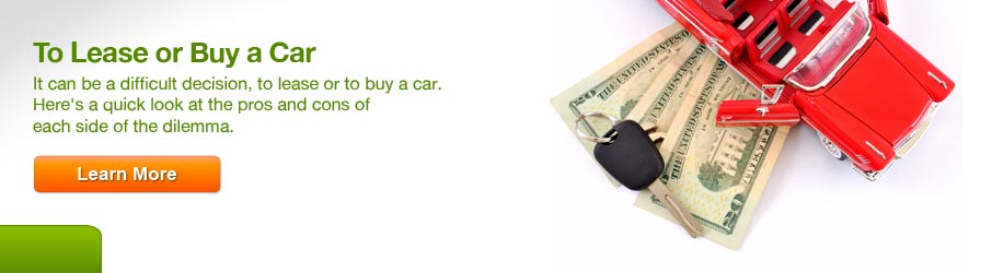 To Lease or Buy a Car. It can be a difficult decision, to lease or to buy a car. Here's a quick look at the pros and cons of each side of the dilemma. Click here to learn more.